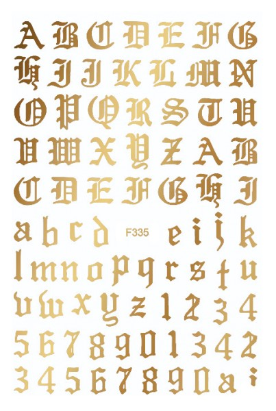 JUSTNAILS stickers self-adhesive letters Letters Gold