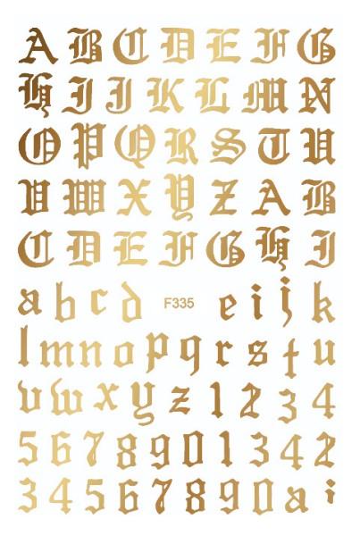 JUSTNAILS Sticker selbstklebend Buchstaben Letters Gold
