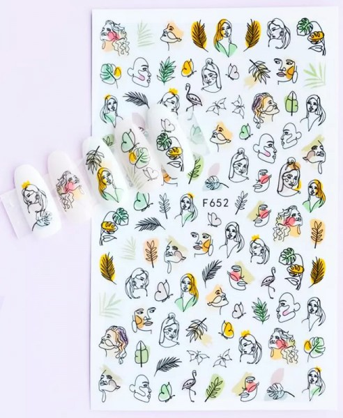 JUSTNAILS Sticker selbstklebend Minimal Faces