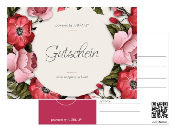 JUSTNAILS 5x Geschenkgutschein Studio 01 Blumen